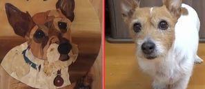 愛犬テンと木の皮の絵