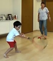 息子とテニス練習